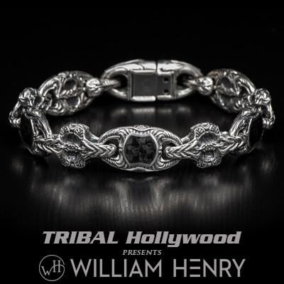 William Henry Carbon Fiber Sterling Silver Mens Bracelet