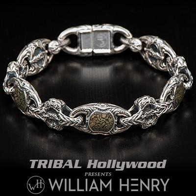 William Henry Green Gray Dinosaur Bone Inlay Silver Bracelet