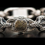 William Henry Green Gray Dinosaur Bone Inlay Silver Bracelet 2
