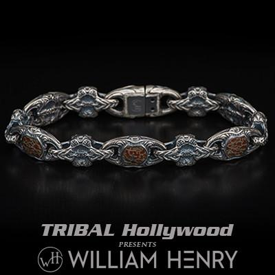 William Henry Red Brown Dinosaur Bone Inlay Silver Bracelet
