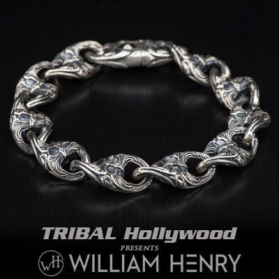 William Henry Anchor Link Sterling Silver Mens Bracelet