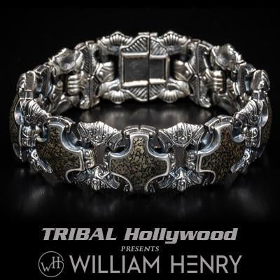 William Henry Green Dinosaur Bone Fossil Silver Bracelet