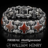 William Henry Red Brown Dinosaur Bone Shield Silver Bracelet