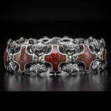 William Henry Red Brown Dinosaur Bone Shield Silver Bracelet 1