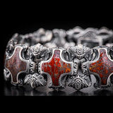 William Henry Red Brown Dinosaur Bone Shield Silver Bracelet 2