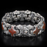 William Henry Red Brown Dinosaur Bone Shield Silver Bracelet 4