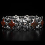 William Henry Red Brown Dinosaur Bone Shield Silver Bracelet 5