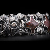 William Henry Red Brown Dinosaur Bone Shield Silver Bracelet 6