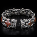 William Henry Red Brown Dinosaur Bone Shield Silver Bracelet 7