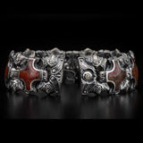 William Henry Red Brown Dinosaur Bone Shield Silver Bracelet 8