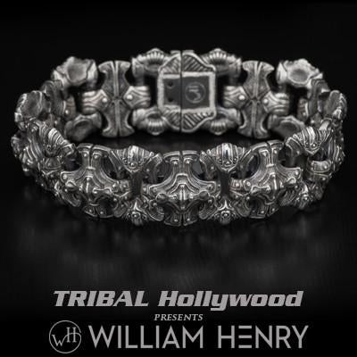 William Henry Engraved Shield Silver Mens Bracelet