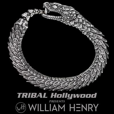 William Henry Sculpted Snake Sterling Silver Mens Bracelet