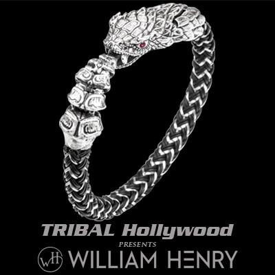 William Henry Sterling Silver Rattlesnake Mens Bracelet