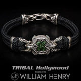 William Henry Green Dinosaur Bone Centerpiece Mens Bracelet