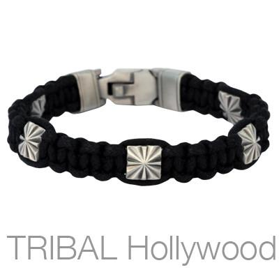 RISING SUN Black Woven Cord Bracelet for Men by Bico Australia