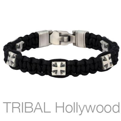 EXCELSIOR Black Woven Cord Cross Bracelet for Men by Bico Australia
