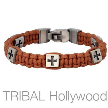 FORT CROSS Brown Woven Cord Bracelet for Men by Bico Australia