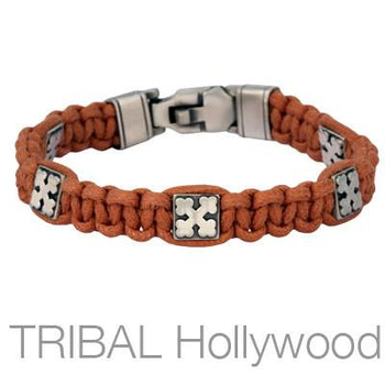 CLUB CROSS Brown Woven Cord Bracelet for Men by Bico Australia