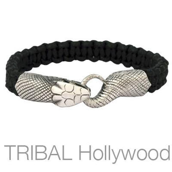UROBOS SNAKE BLACK Woven Cord Bracelet for Men by Bico Australia