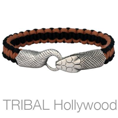UROBOS SNAKE BLACK AND BROWN Woven Cord Mens Bracelet by Bico