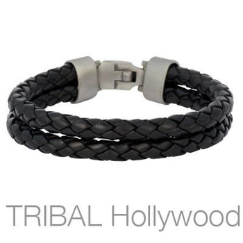 Braided Black Leather Double Strap Mens Bracelet by BICO