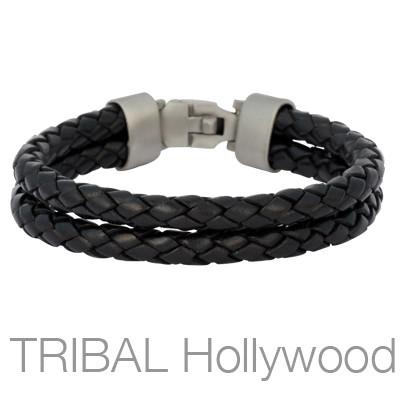 THE WRANGLER BLACK Double Strand Leather Mens Bracelet by Bico
