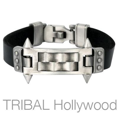Bico MECHANIKA BRACELET Spiked Silver Tag Mens Black Leather Bracelet