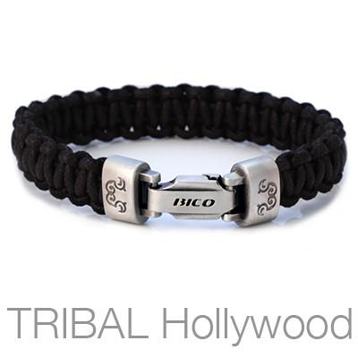 Traveller Black Cotton Rope Ladder Mens Bracelet by Bico