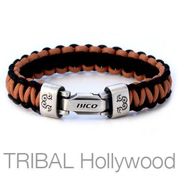 Traveller Brown and Black Rope Ladder Mens Bracelet by Bico