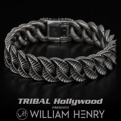 Snake Curb Chain Silver Mens Bracelet by William Henry