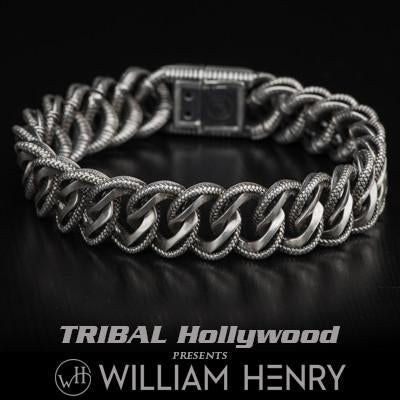 William Henry Layered Curb Link Silver Mens Bracelet