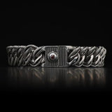 William Henry Layered Curb Link Silver Mens Bracelet 4