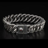 William Henry Layered Curb Link Silver Mens Bracelet 6