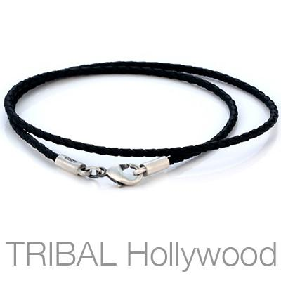 BLACK BRAIDED FAUX LEATHER NECKLACE Thin Width