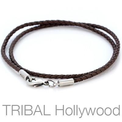 BROWN BRAIDED FAUX LEATHER NECKLACE Thin Width