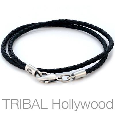 BLACK BRAIDED FAUX LEATHER NECKLACE Medium Width