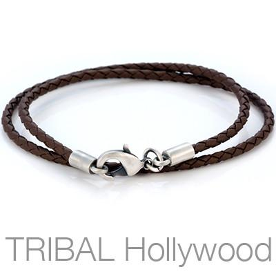 BROWN BRAIDED FAUX LEATHER NECKLACE Medium Width