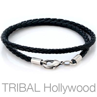 BLACK BRAIDED FAUX LEATHER NECKLACE Thick Width
