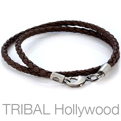 BROWN BRAIDED FAUX LEATHER NECKLACE Thick Width