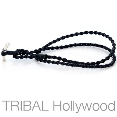 BLACK BRAIDED ROPE Hand Woven Waxed Cotton Cord Necklace by Bico Australia
