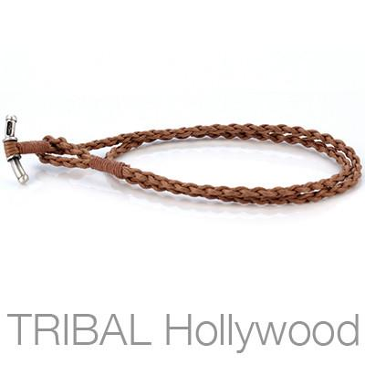 BROWN BRAIDED ROPE Hand Woven Waxed Cotton Cord Necklace by Bico Australia