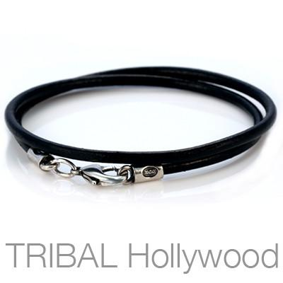 BLACK LEATHER NECKLACE Plain Thick Width