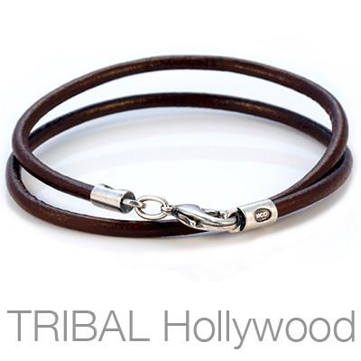 CHOCOLATE BROWN LEATHER NECKLACE Plain Thick Width