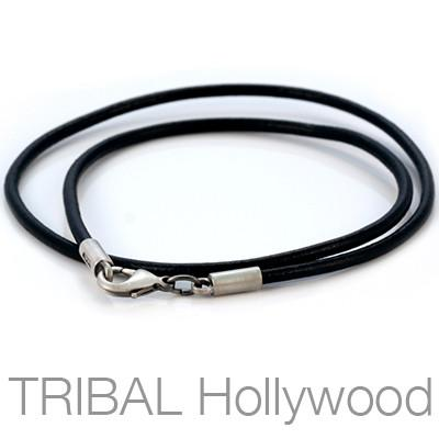 BLACK LEATHER NECKLACE Plain Medium Width Full View