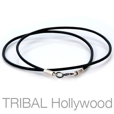 BLACK LEATHER NECKLACE Plain Thin Width