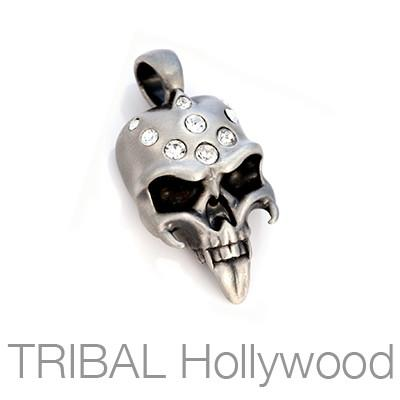 CRYSTAL STRIGOI Fanged Demon Skull Necklace Pendant with Swarovski Crystals by BICO Australia
