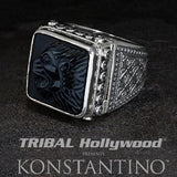 Konstantino Roaring Lion Sterling Silver and Onyx Mens Ring