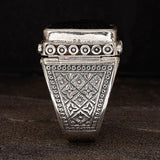 Konstantino Roaring Lion Sterling Silver and Onyx Mens Ring Side View