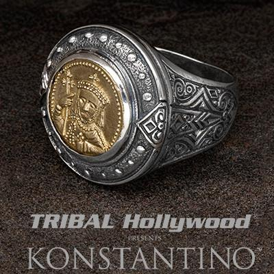 Konstantino Constantine Bronze Coin Mens Silver Ring