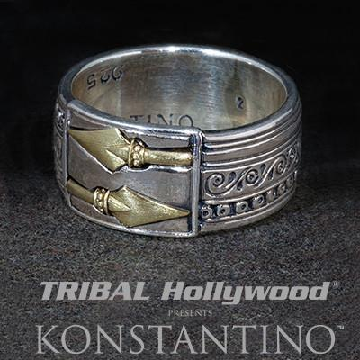Konstantino Greek Warrior Bronze Spears Silver Mens Ring